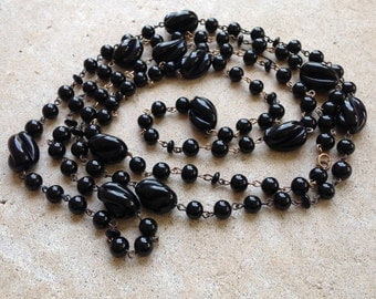 Black Glass Beaded Necklace