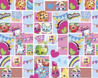 "End of Bolt, Moose Shopkins Patch Party Cotton Fabric 18""x44"""