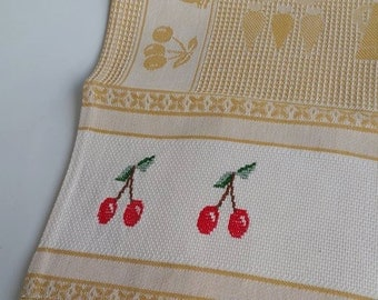 kitchen cloth- embroidered dishcloth- Cherry cross stitch towel- embroidered towel- dishtowel- cross stitched cloth- handmade- beige linens