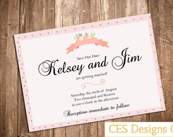 Delicate Save the Date Wedding Card