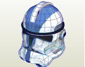Clone trooper helmet Star Wars DIY printable paper model pattern. Cosplay. Paper party mask. Papercraft pattern template