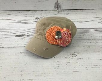 Khaki Military Hat/ Cadet Hat/ Fabric Rosettes