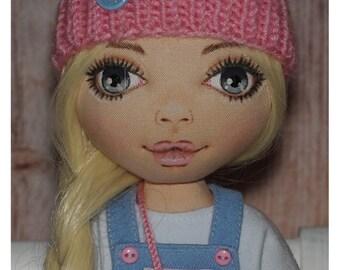 Sweet interior textile doll. Handmade interior doll. Art doll.