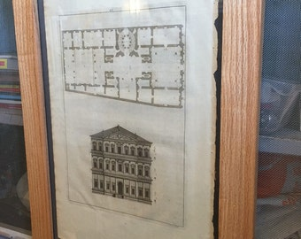 Antique Architectural Print in Handmade Frame