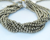 Pyrite Smooth Round Well Polish Gemstone Loose Beads 15.5 Inch per Strand Size 4/mm6mm/8mm.R-S-PYR-0329