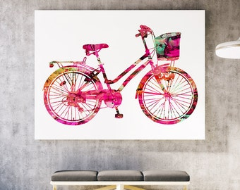 Pink Woman Bicycle Print - Colorful Poster Art Print - Wall Poster - Gift Idea