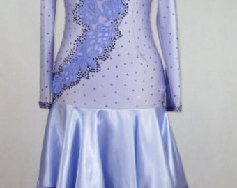 Latin Dance Dress in Light Mauve Lycra