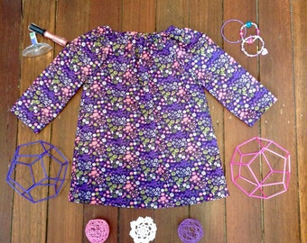 Girls Long Sleeved Dress -3 -Purple Floral