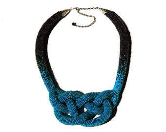 Beaded crochet statement necklace