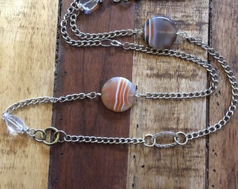 Agate crystal necklace layer  wholesale sale long necklace and brass and stone