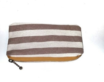 Striped Coin Pouch with Yellow/Orange Zipper