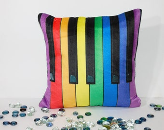 12 x 12 ,Modern decorative, rainbow colours , high quality, Velvet throw pillow cushion cover, piano design ,  synthesizer design,