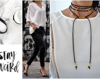 Black suede choker necklace, Gold Charm Necklace, Black Suede Choker with gold charm, Wrap Necklace, Tie Up Bolo Necklace, Bohemian Necklace