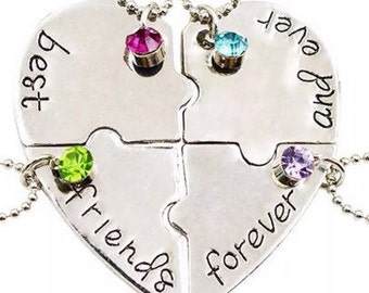Best Friens Forever And Ever 4 Piece Silver Necklace Makes Ideal Present..