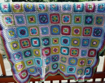 Crocheted Granny Squares Blanket