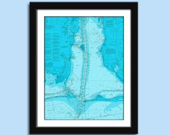 Mobile AL - Mobile Bay AL - Nautical Chart Decor