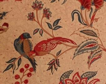 Vintage Cotton Fabric Cloth Material Sample Jacobean