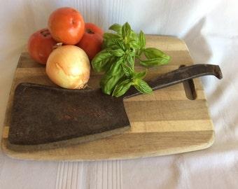 Antique primitive cast metal cleaver Brades Co meat chopper knife no 426
