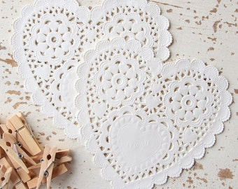 Large Ivory Heart Paper Doilies Pk20
