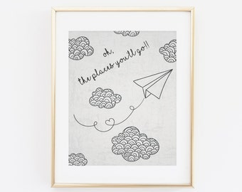 Printable Wall art, Oh the places you'll go, Paper Airplane, Nursery Wall Art, Wanderlust Print, The places you will go Nursery Decor