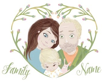 Custom Family Portrait Illustration / Personalized family drawing / Portrait painting / best gift / family wall decals / family wall art