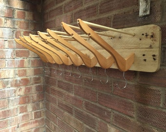 Upcycled coat hanger coat rack