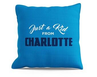 Charlotte Pillow, Charlotte Throw, Hornets Pillow, Bobcats Pillow, Just a Kid From, Carolina Pillow, Couch Throw, Charlotte Throw Pillow