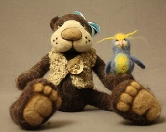 Needle felted teddy bear (Miecia), needle felted animals, needle felted cute animals, needle felted teddy bear, needle felted cute bear,felt