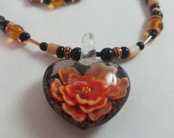 Handmade Beaded Heart and Rose Necklace