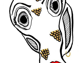Printing, illustration, art. Poster/ decoration. Fish Face