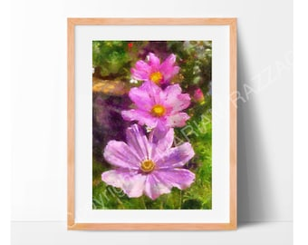 Print of Pink Cosmos Flower, sizes 7x5 or 8x10.  From my original photograph digitally processed to achieve the final painted look.