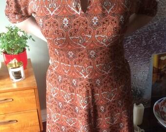 Vintage 1960s Rust Brown Fabulous Print Mod Dress