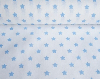 Cotton white light blue with stars