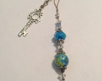 Blueish Green one of a kind keychain