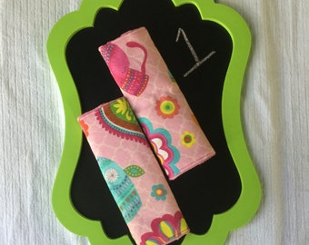 Reversible car seat strap covers, baby girl, owl