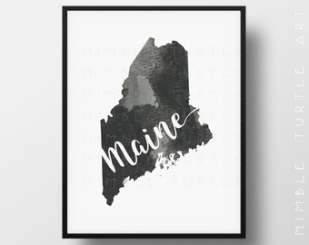 Maine State Outline Watercolor -  Printable Maine Wall Art  -  Comes with Blank State Outline SVG  -  Gallery Wall Art