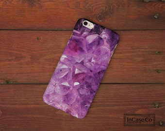 Amethyst Purple Crystal Phone Case. White. For iPhone Case, Samsung Case, LG Case, Nokia Case, Blackberry Case and More!