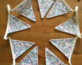 vintage fabric bunting, vintage bunting, party bunting, wedding garland, wedding bunting, floral bunting, vintage fabric garland,