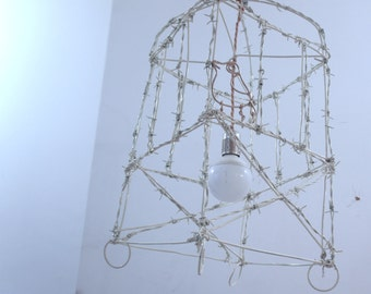 Barb wire Chandelier Birdcage Lampshade, Industrial, Steampunk