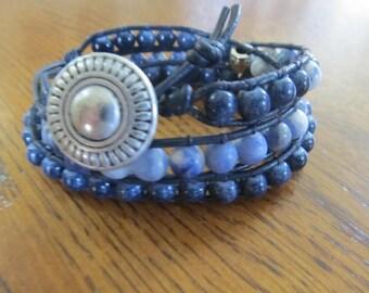 Beautiful blue three-wrap Chan Luu-inspired bracelet