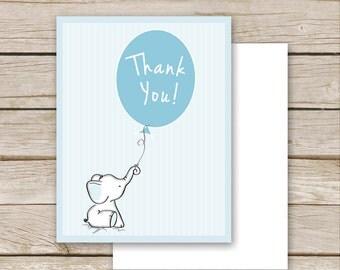 Blue Elephant Baby Shower Thank You Postcard - Printable Download - Blue Boy Baby Shower Thank You Card