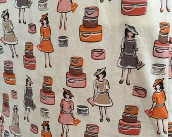 The ladies with cakes print dress hand made size 10 AU
