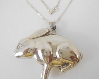 Necklace Pendant Sterling Silver Rabbit Large