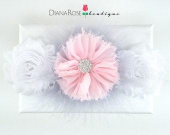 Soft Pink Gray chiffon flower headband with marabou feathers. Newborn Photo Prop. Special Occasion headband. Shabby Chic girls headband