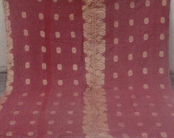 Red Ethnic Reversible Kantha Quilt  Kantha Handmade Throw Cotton Thread Stich Kantha Sari Quilt