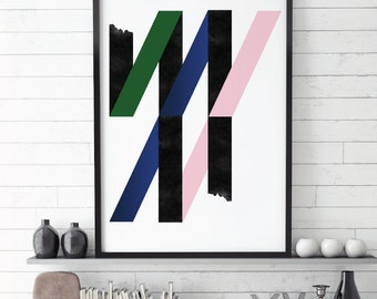 Scandinavian Modern, Abstract Art, Top Selling Items, Pink Blue Green Printable, Geometric Abstract, Abstract Art Print, Top Sellers