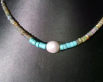 New - Handmade,genuine pearl, turquoise, opal and sterling silver chain necklace. 16 inch with extender chain.