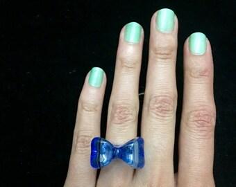 Light cobalt glass bow ring
