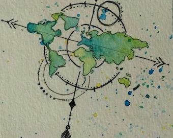 Compass & Map // Watercolor Postcard