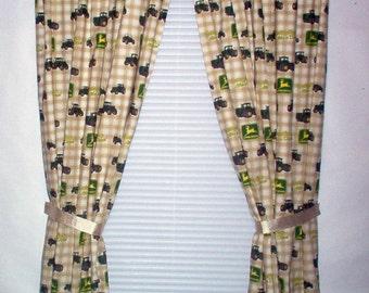Handmade Long Drapes Using John Deere Fabric